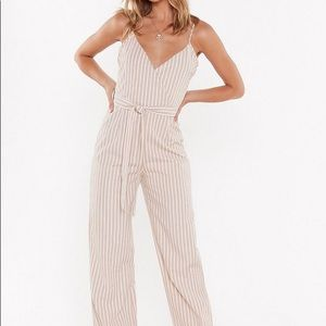 Nasty Gal Straight Up Striped Belted Jumpsuit